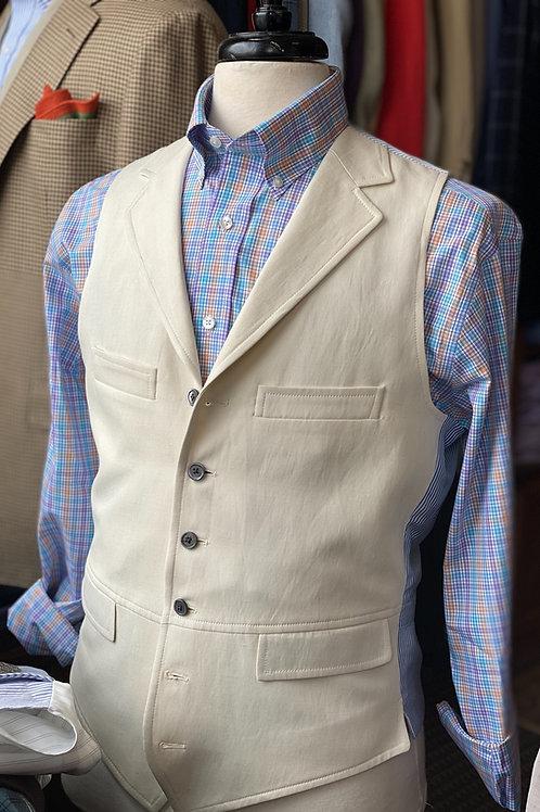 Crittenden Signature Vest in Off-White Silk & Linen