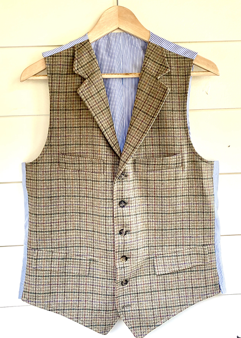 Crittenden English Saxony Wool Check Vest