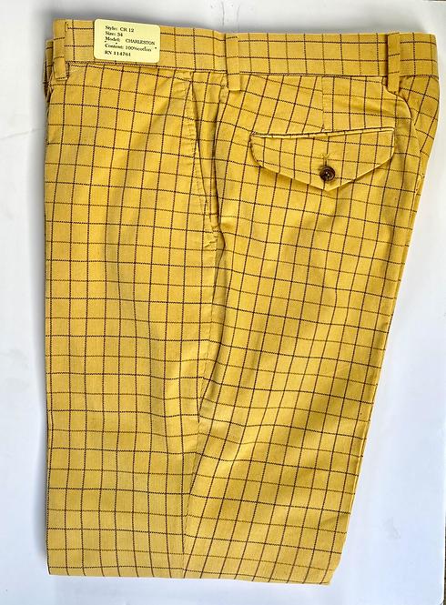Crittenden Fine Pinwale Cord Trouser in Yellow Tattersall