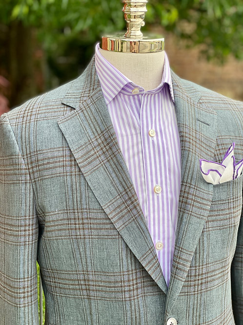 CR 518 Linen in Grey and Tan Plaid