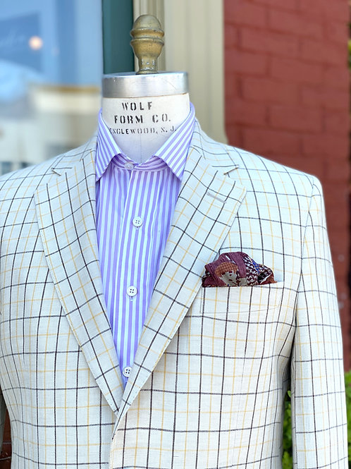 CR 22A Linen Hacking Jacket in Cream Tattersall