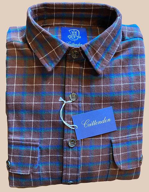 Crittenden Cotton Flannel Shirt, Brown/Blue/Green