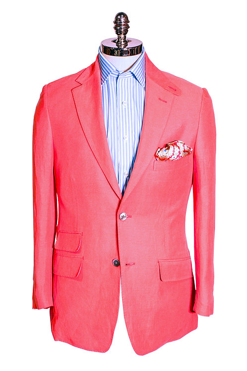 CR 396 Hacking Jacket in Fire Red Silk & Linen