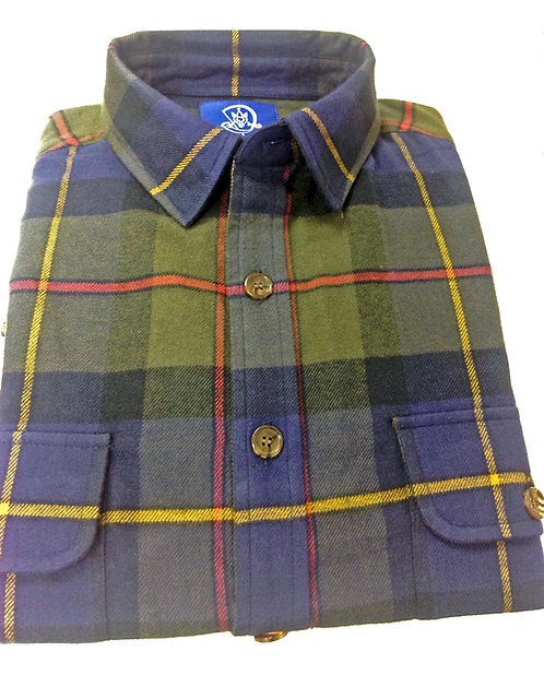 CR 62 Tartan Flannel Shirt in Green and Navy