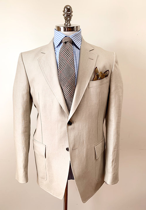 Tan Linen Flap Pocket Sportcoat by Purdey Of England