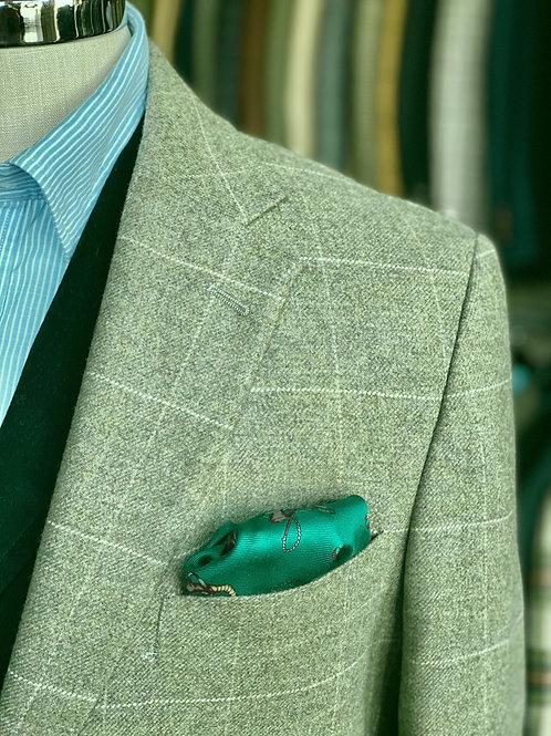 CR1242   Harrods Flap-Pocket Sportcoat in Olive/Cream Windowpane