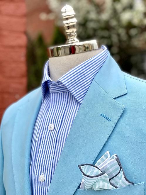 CR392 Silk & Linen Harrods Sportcoat in Caribbean Blue
