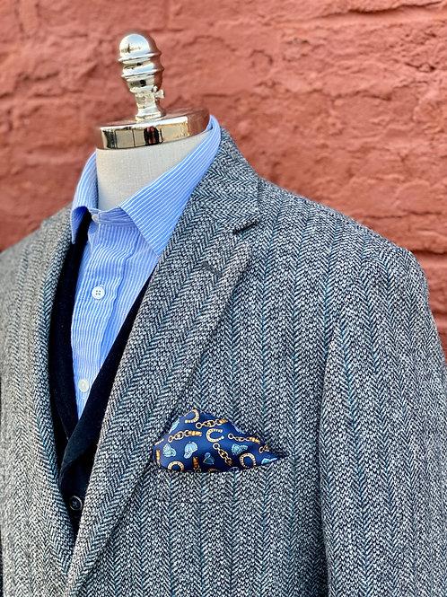 CR182 Harrods Flap Pocket Sportcoat in Charcoal Herringbone