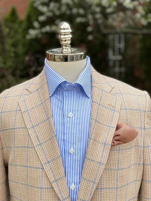 CR434 Camel & Blue Windowpane Silk/Linen & Wool Sportcoat