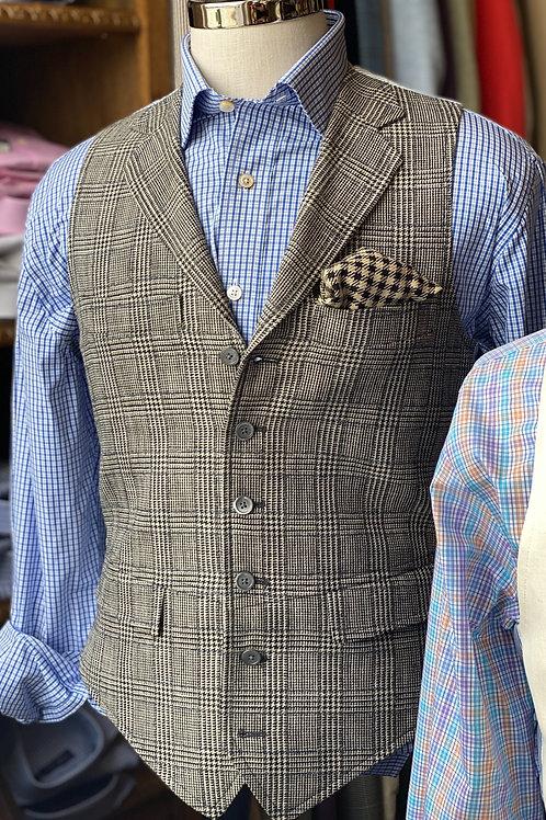 Crittenden Signature Vest in Black & White Silk/Linen/Wool Glen Plaid