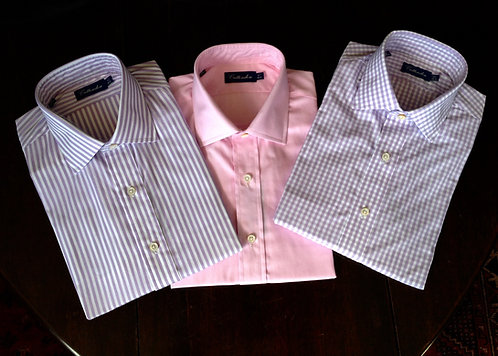 Crittenden Super 100s Dress Shirt, Light Purple and White Stripe or Check