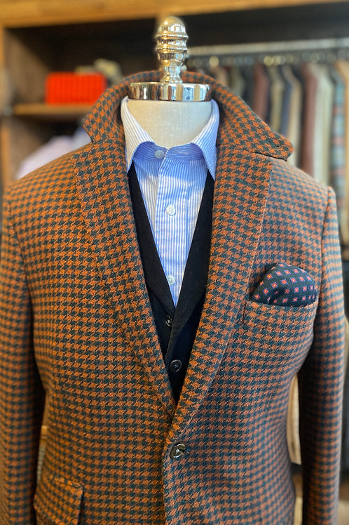CR1040 Hacking Jacket in Rust & Navy Houndstooth Check