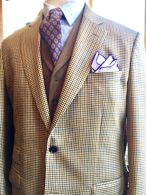 CR 634 Harrods Flap Sportcoat in Brown with Navy Overplaid