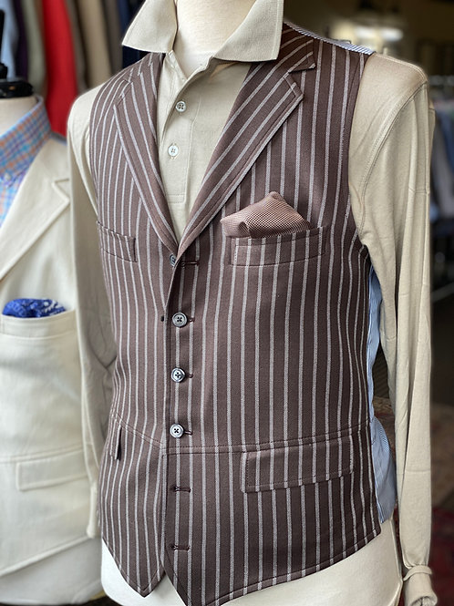 Crittenden Signature Vest In Brown/Cream Stripe