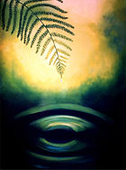 Painting of a fern over a pool of water