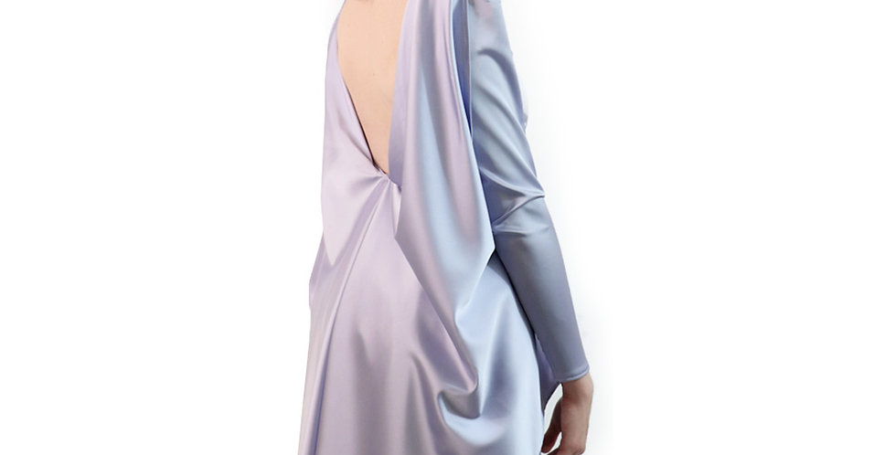 Duchess column long sleeve gown with ruffle draped over back