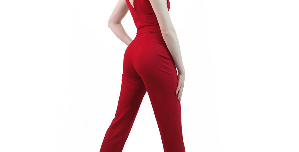 Plunging Neckline Jumpsuit with Peg Leg