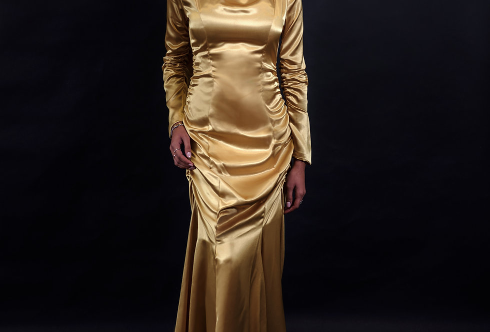 Ruched High Neck Long Sleeve Gown