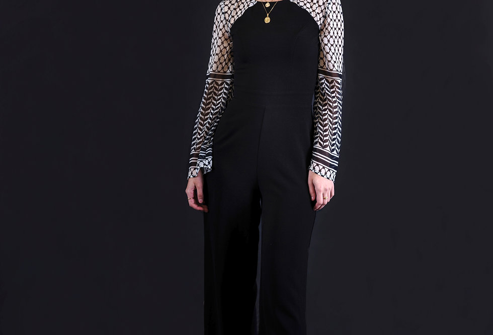 Flared Jumpsuit with Liberty Yoke and Sleeve