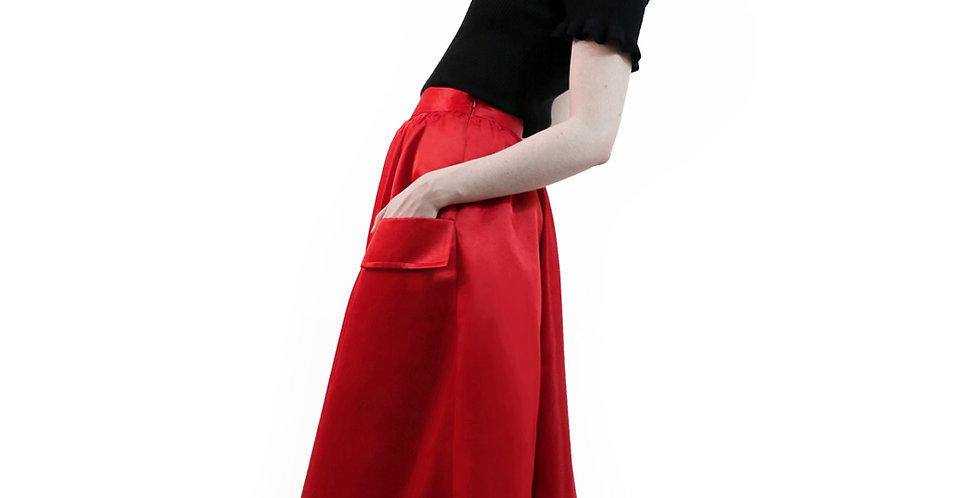 Flared Skirt With Flap Pockets