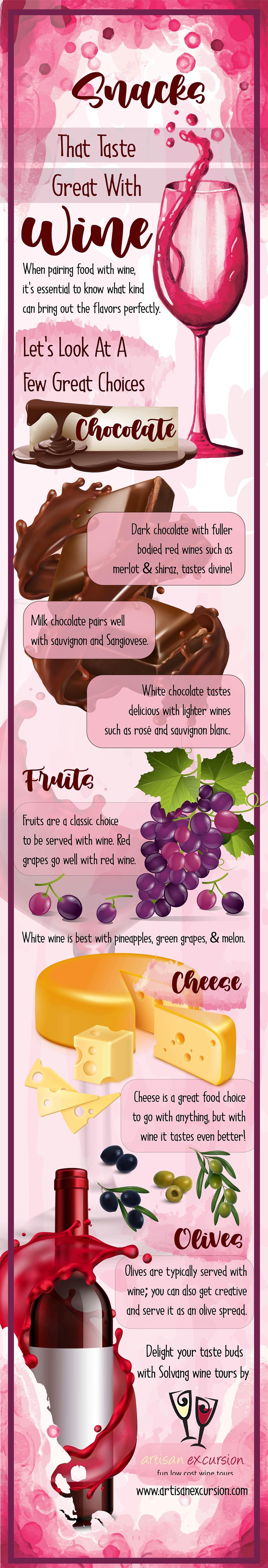 tasty snacks with wine