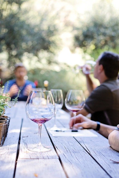A group enjoying a wine tasting