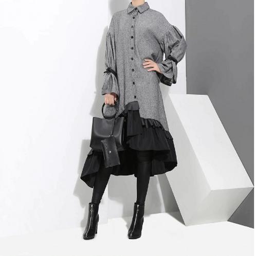 Winter Gray Midi Long Sleeve Dress