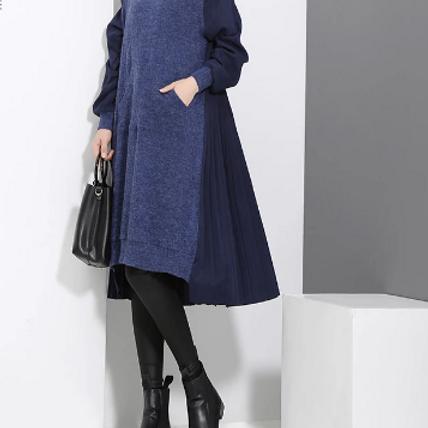 Long Sleeve Blue Black Woolen Patchwork Dress