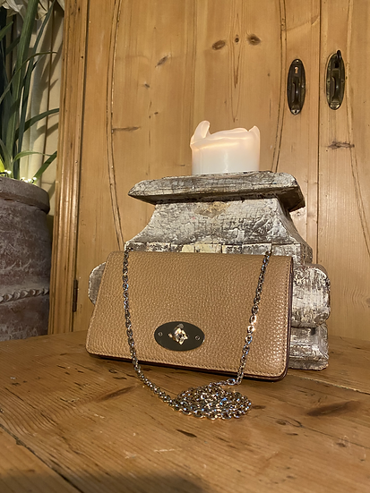 Mulberry Bayswater Clutch on Chain ~ Deer Brown with Champagne Gold hardware