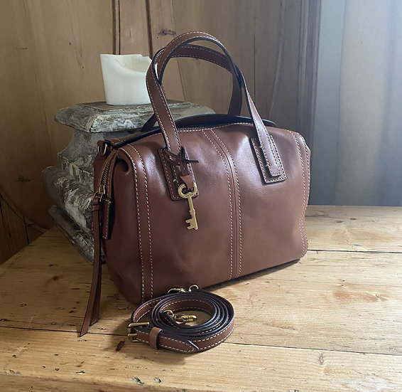 Fossil 'EMMA' Leather Satchel Bag - Oak