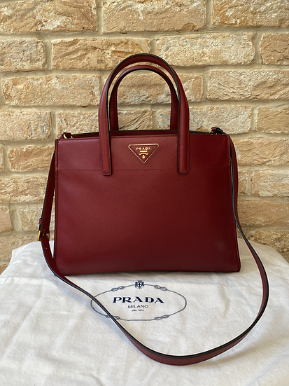 Prada Medium Saffiano Leather Galleria Bag - Deep Red
