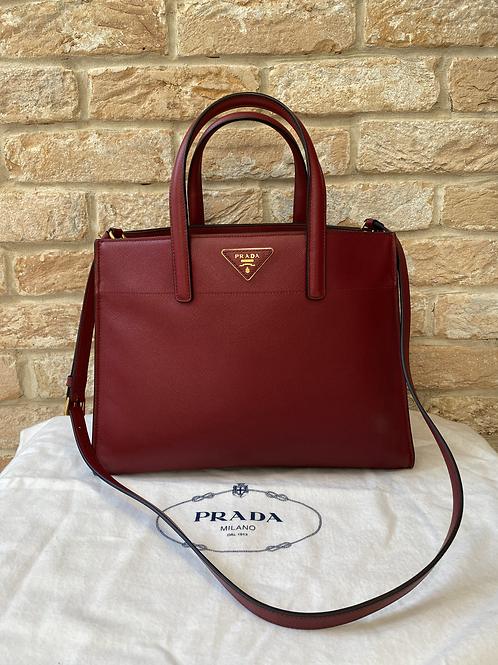 Prada Medium Saffiano Leather Galleria Bag - Deep Red
