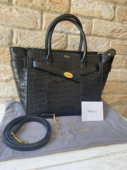 Mulberry Small Zipped Bayswater - Black Croc