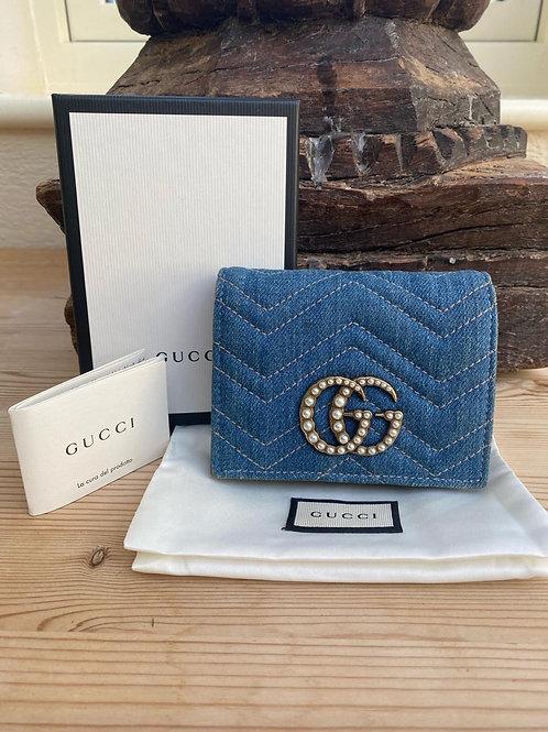 Gucci GG Marmont Denim Card Wallet