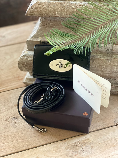 Mulberry Black Patent Phone Case (with strap)