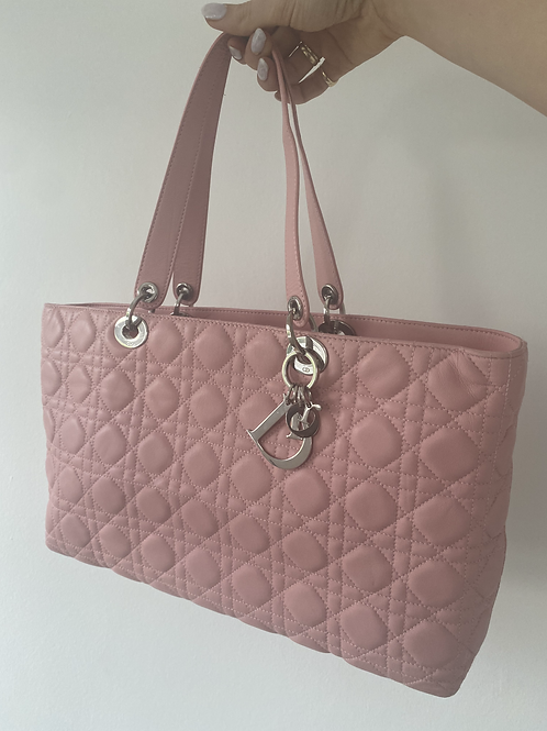 Dior Cannage Leather Tote - Pink