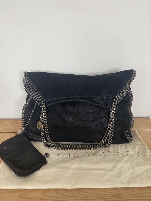 Stella McCartney Black Shaggy Deer Faux Leather Large Falabella Bag