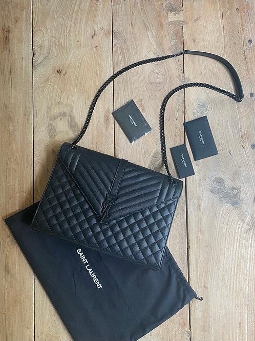 Saint Laurent Large Envelope Bag - Mix Matelasse Grain de Poudre Ebossed Leather