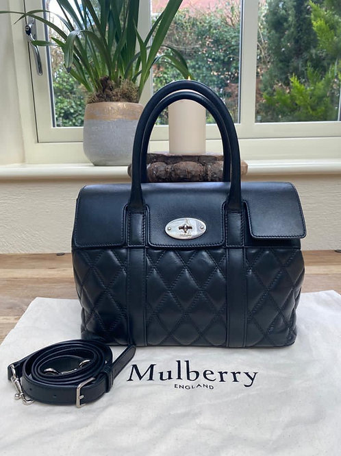 Mulberry black quilted leather small bayswater