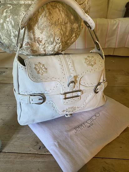 Jimmy Choo White and Cream Embroidered Bag