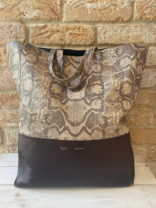 Celine Faux Snake Print and Purple Tote