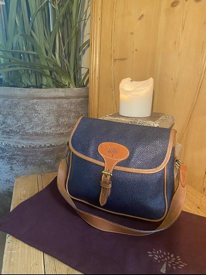 Vintage Mulberry Scotchgrain Shoulder Bag - Navy