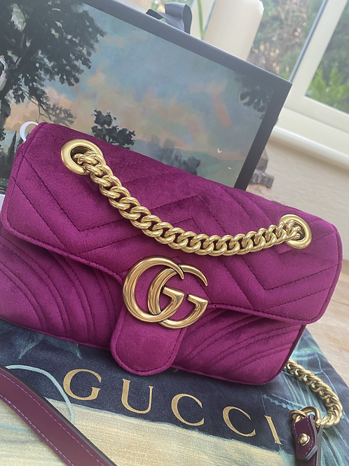 Gucci GG Marmont Matelasse Mini - Fushcia Velvet