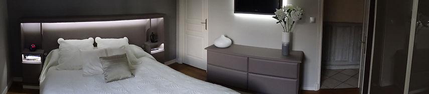 Aménagement intérieur. Ici chambre avec la tête de lit, commode et cadre TV. 60