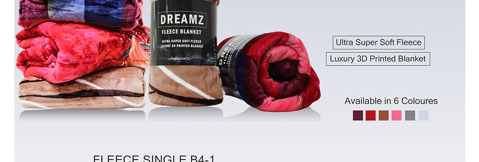DREAMZ FLEECE BLANKET SINGLE B41 160X220CM-TP4633