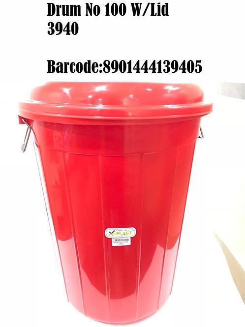 X PLAST DRUM BUCKET 100 LTR WITH LID (PL) 3940