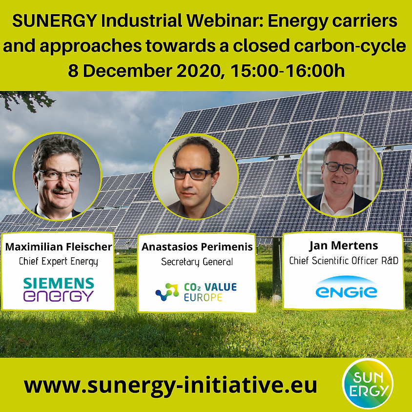 SUNERGY Industrial Webinar. Energy carriers and approaches towards a closed carbon-cycle