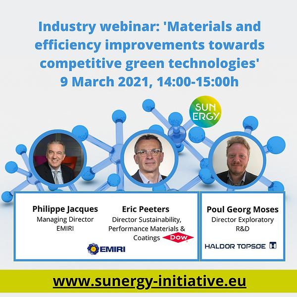 SUNERGY Industry Webinar | Materials & Efficiency Improvements Towards Competitive Green Tech