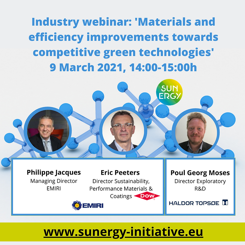 SUNERGY Industrial Webinar. Materials and efficiency improvements towards competitive green technologies