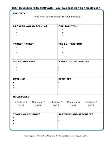 BVDC Lean Business Plan Template 05 13 2